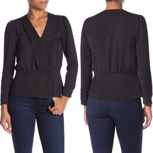 Elodie Side Button V-neck Wrap Long Sleeve Blouse